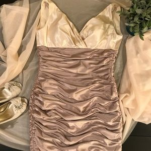 Two Toned All Over Ruched Stretch Satin Dress